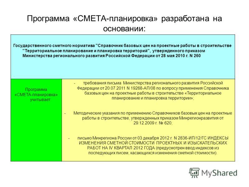 Программа «СМЕТА-планировка» разработана на основании: Государственного сметного норматива