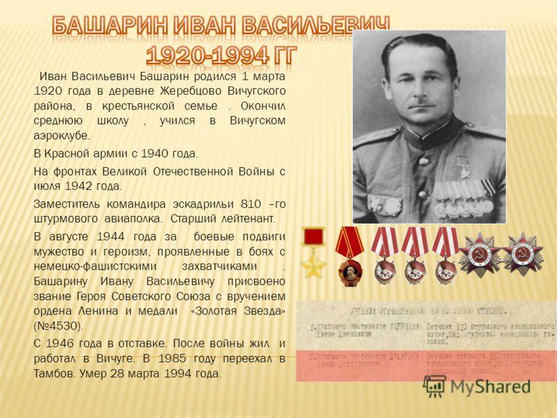 Иван Васильевич Башарин родился 1 марта 1920 года в деревне Жеребцово Вичугского района, в крестьянской семье. Окончил среднюю школу, учился в Вичугском аэроклубе. В Красной армии с 1940 года. На фронтах Великой Отечественной Войны с июля 1942 года.