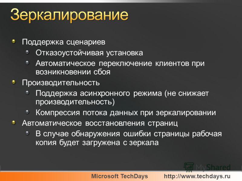 Microsoft TechDayshttp://www.techdays.ru Поддержка сценариев Отказоустойчивая установка Автоматическое переключение клиентов при возникновении сбоя Производительность Поддержка асинхронного режима (не снижает производительность) Компрессия потока дан