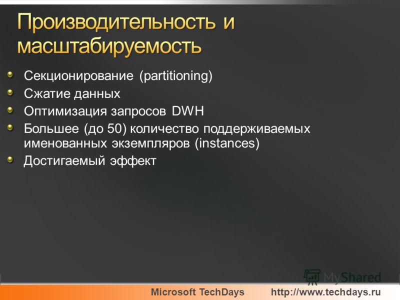 Microsoft TechDayshttp://www.techdays.ru Секционирование (partitioning) Сжатие данных Оптимизация запросов DWH Большее (до 50) количество поддерживаемых именованных экземпляров (instances) Достигаемый эффект