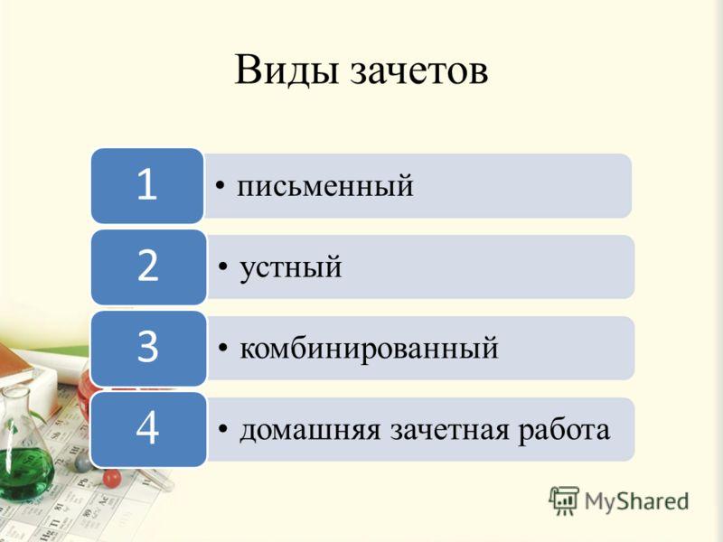 Виды зачетов письменный 1 устный 2 комбинированный 3 домашняя зачетная работа 4