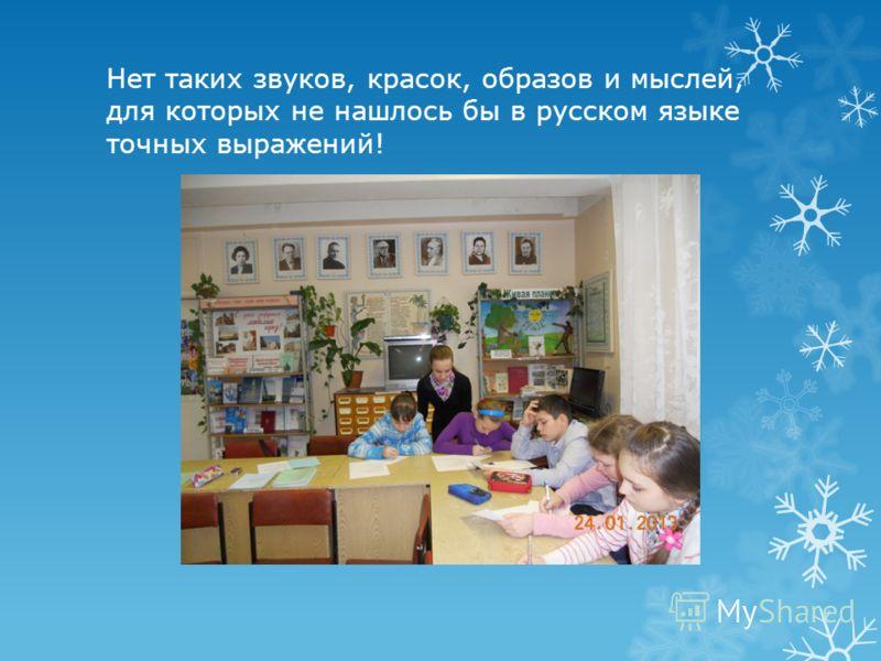 Нет таких звуков, красок, образов и мыслей, для которых не нашлось бы в русском языке точных выражений!