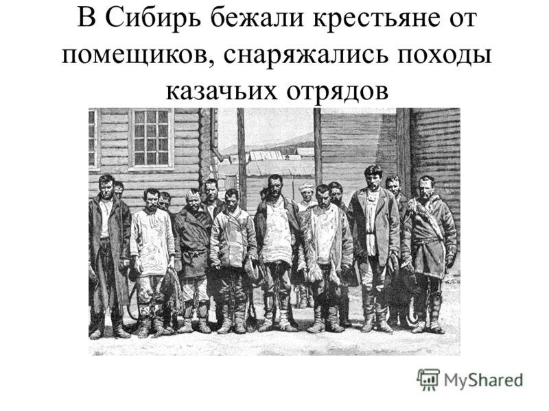 В Сибирь бежали крестьяне от помещиков, снаряжались походы казачьих отрядов