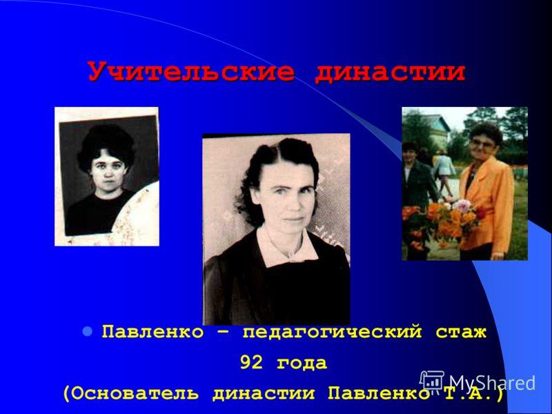 Учительские династии Павленко – педагогический стаж 92 года (Основатель династии Павленко Т.А.)