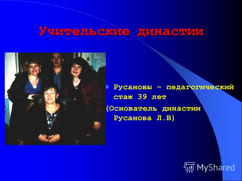 Учительские династии Русановы – педагогический стаж 39 лет (Основатель династии Русанова Л.В)