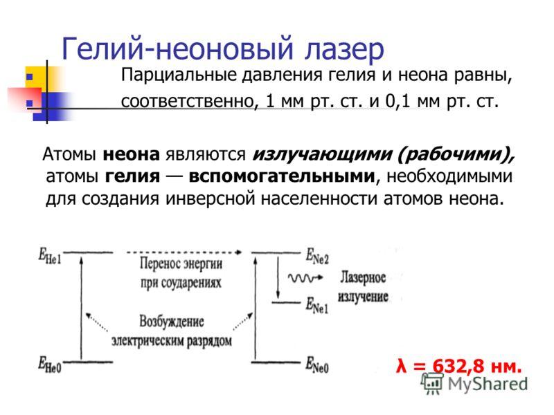 Гелий-неоновый лазер Парциальные давления гелия и неона равны, соответственно, 1 мм рт. ст. и 0,1 мм рт. ст. Атомы неона являются излучающими (рабочими), атомы гелия вспомогательными, необходимыми для создания инверсной населенности атомов неона. λ =