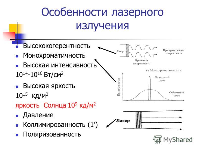 Высококогерентность Монохроматичность Высокая интенсивность 10 14 -10 16 Вт/см 2 Высокая яркость 10 15 кд/м 2 яркость Солнца 10 9 кд/м 2 Давление Коллимированность (1) Поляризованность Особенности лазерного излучения