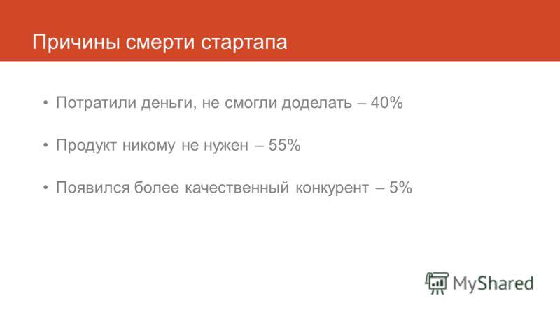 Причины смерти стартапа Потратили деньги, не смогли доделать – 40% Продукт никому не нужен – 55% Появился более качественный конкурент – 5%