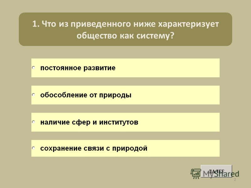 1. Что из приведенного ниже характеризует общество как систему? 2