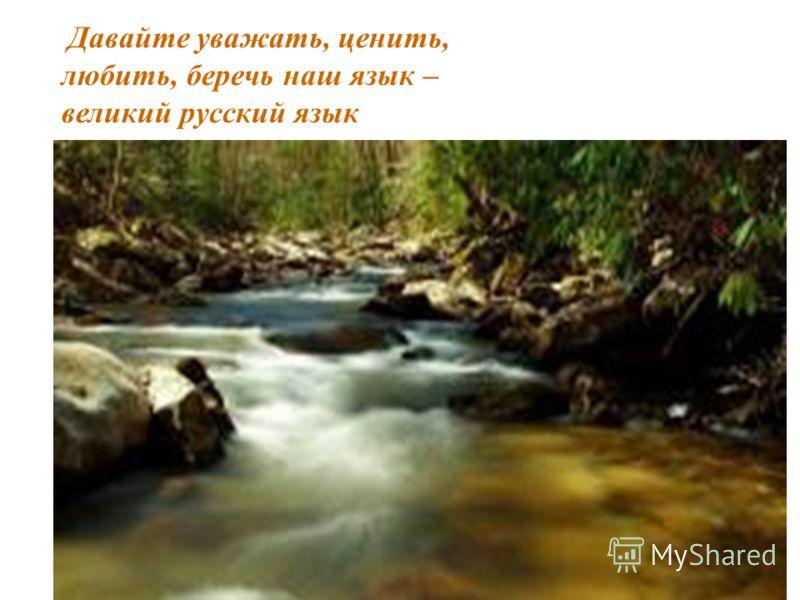 Давайте уважать, ценить, любить, беречь наш язык – великий русский язык