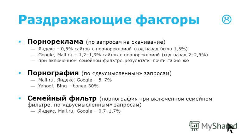 Раздражающие факторы Порнореклама (по запросам на скачивание) Яндекс – 0,5% сайтов с порнорекламой (год назад было 1,5%) Google, Mail.ru – 1,2–1,3% сайтов с порнорекламой (год назад 2–2,5%) при включенном семейном фильтре результаты почти такие же По