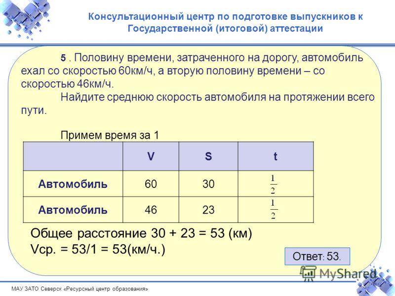 МАУ ЗАТО Северск «Ресурсный центр образования» Консультационный центр по подготовке выпускников к Государственной (итоговой) аттестации 5. Половину времени, затраченного на дорогу, автомобиль ехал со скоростью 60км/ч, а вторую половину времени – со с