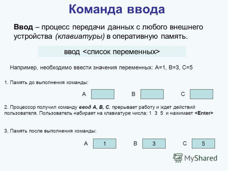 Команда ввода Ввод – процесс передачи данных с любого внешнего устройства (клавиатуры) в оперативную память. ввод Например, необходимо ввести значения переменных: А=1, В=3, С=5 АВС 1. Память до выполнения команды: 135 АВС 2. Процессор получил команду