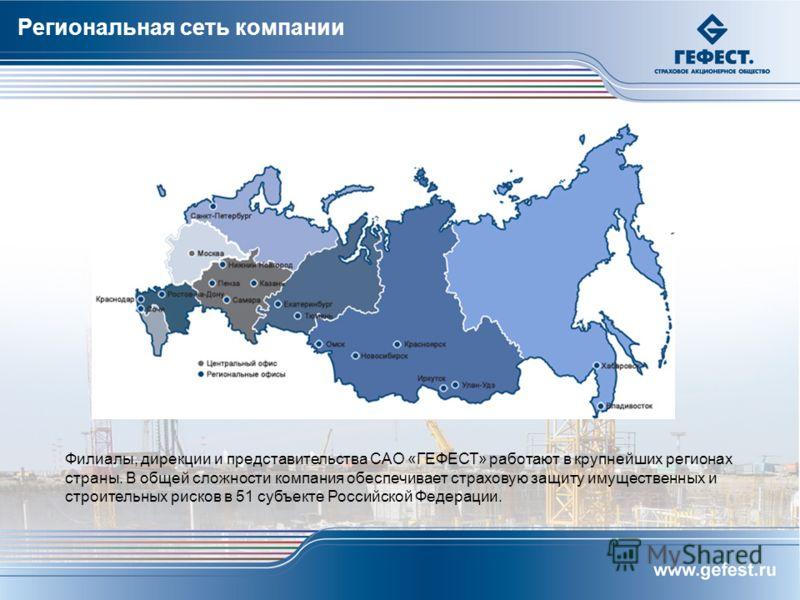 Филиалы, дирекции и представительства САО «ГЕФЕСТ» работают в крупнейших регионах страны. В общей сложности компания обеспечивает страховую защиту имущественных и строительных рисков в 51 субъекте Российской Федерации. Региональная сеть компании