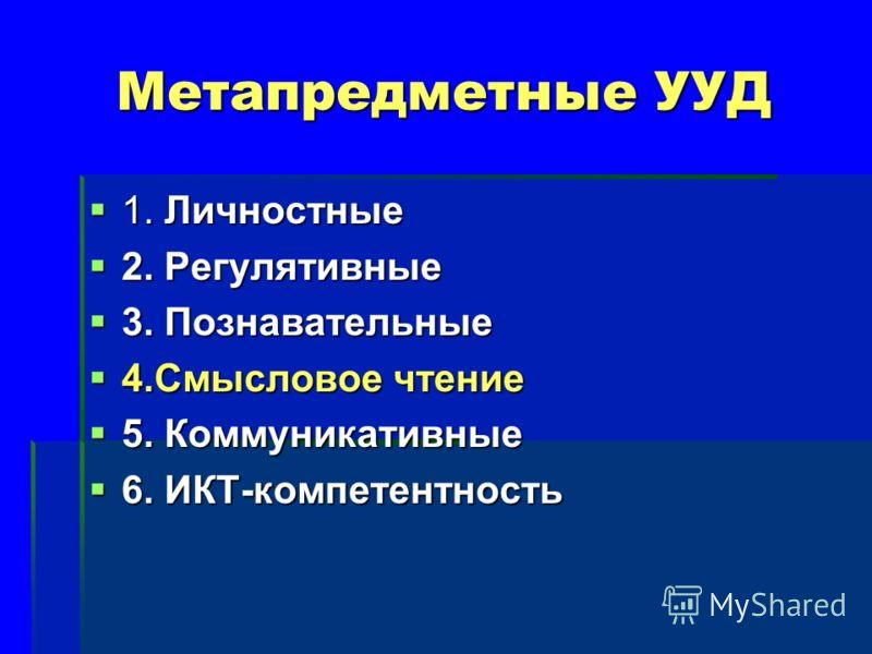 Метапредметные УУД 1. Личностные 1. Личностные 2. Регулятивные 2. Регулятивные 3. Познавательные 3. Познавательные 4.Смысловое чтение 4.Смысловое чтение 5. Коммуникативные 5. Коммуникативные 6. ИКТ-компетентность 6. ИКТ-компетентность