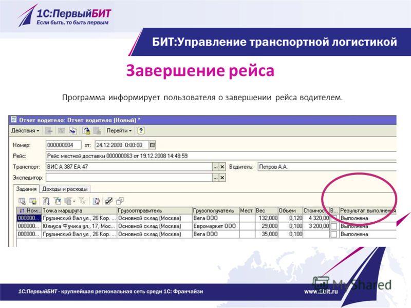 Завершение рейса Программа информирует пользователя о завершении рейса водителем.