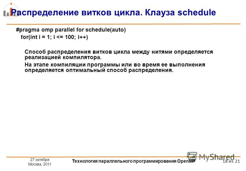 27 октября Москва, 2011 Технология параллельного программирования OpenMP 18 из 21 Распределение витков цикла. Клауза schedule #pragma omp parallel for schedule(auto) for(int i = 1; i