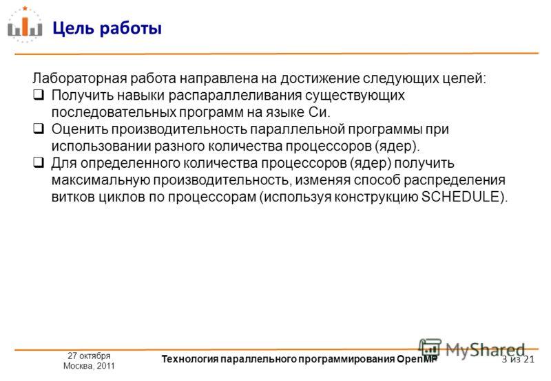 27 октября Москва, 2011 Технология параллельного программирования OpenMP 3 из 21 Цель работы Лабораторная работа направлена на достижение следующих целей: Получить навыки распараллеливания существующих последовательных программ на языке Си. Оценить п