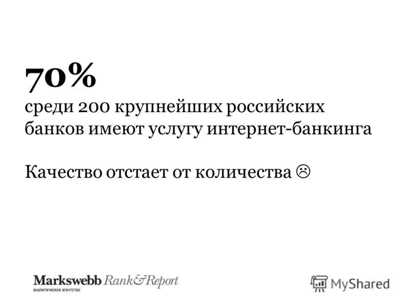 70% среди 200 крупнейших российских банков имеют услугу интернет-банкинга Качество отстает от количества