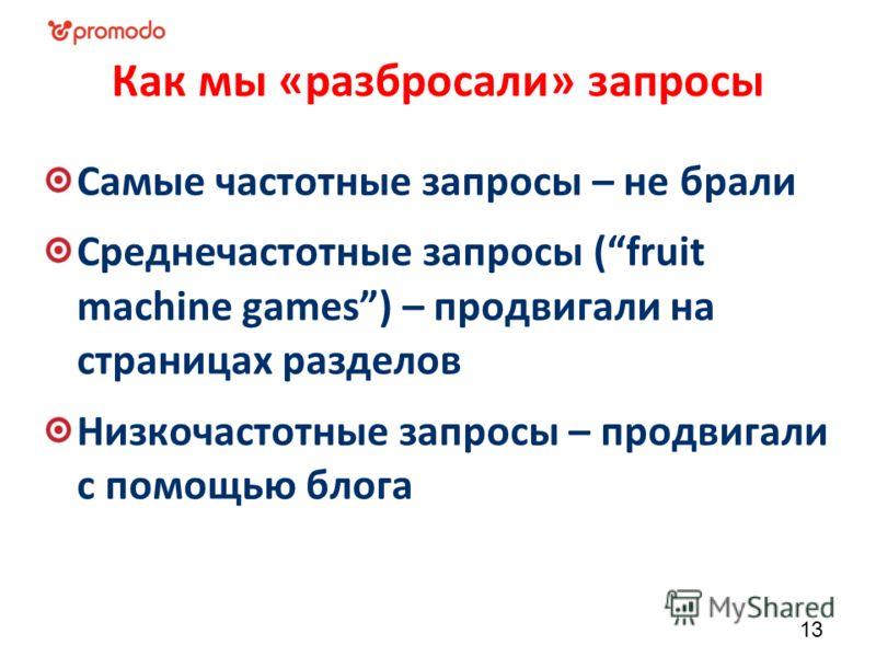 Как мы «разбросали» запросы Самые частотные запросы – не брали Среднечастотные запросы (fruit machine games) – продвигали на страницах разделов Низкочастотные запросы – продвигали с помощью блога 13