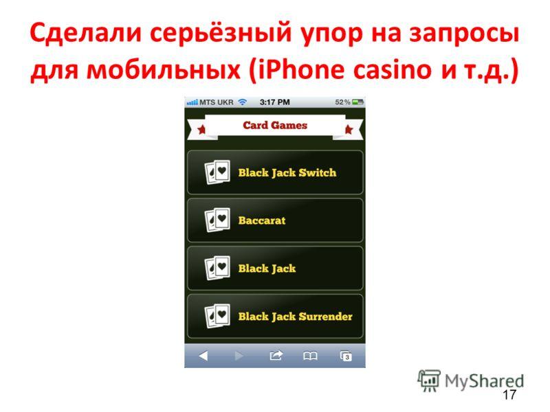 Сделали серьёзный упор на запросы для мобильных (iPhone casino и т.д.) 17