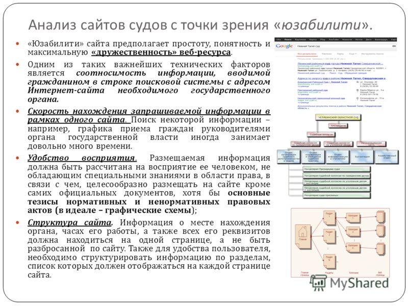Анализ сайтов судов с точки зрения « юзабилити ». « Юзабилити » сайта предполагает простоту, понятность и максимальную « дружественность » веб - ресурса. Одним из таких важнейших технических факторов является соотносимость информации, вводимой гражда