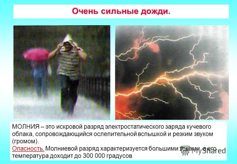 Очень сильные дожди. МОЛНИЯ – это искровой разряд электростатического заряда кучевого облака, сопровождающийся ослепительной вспышкой и резким звуком (громом). Опасность. Молниевой разряд характеризуется большими токами, а его температура доходит до