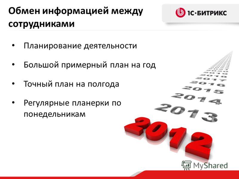 Обмен информацией между сотрудниками Планирование деятельности Большой примерный план на год Точный план на полгода Регулярные планерки по понедельникам