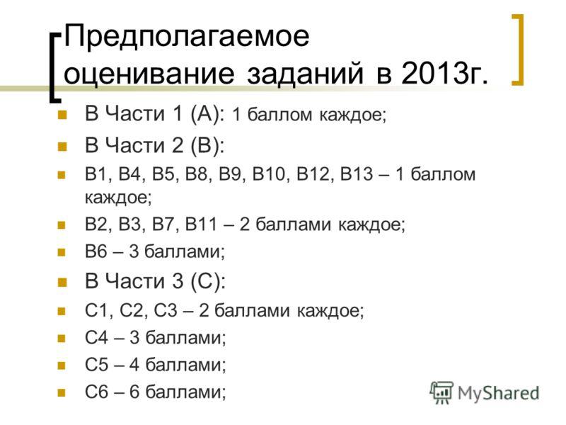 Предполагаемое оценивание заданий в 2013г. В Части 1 (А): 1 баллом каждое; В Части 2 (В): В1, В4, В5, В8, В9, В10, В12, В13 – 1 баллом каждое; В2, В3, В7, В11 – 2 баллами каждое; В6 – 3 баллами; В Части 3 (С): С1, С2, С3 – 2 баллами каждое; С4 – 3 ба