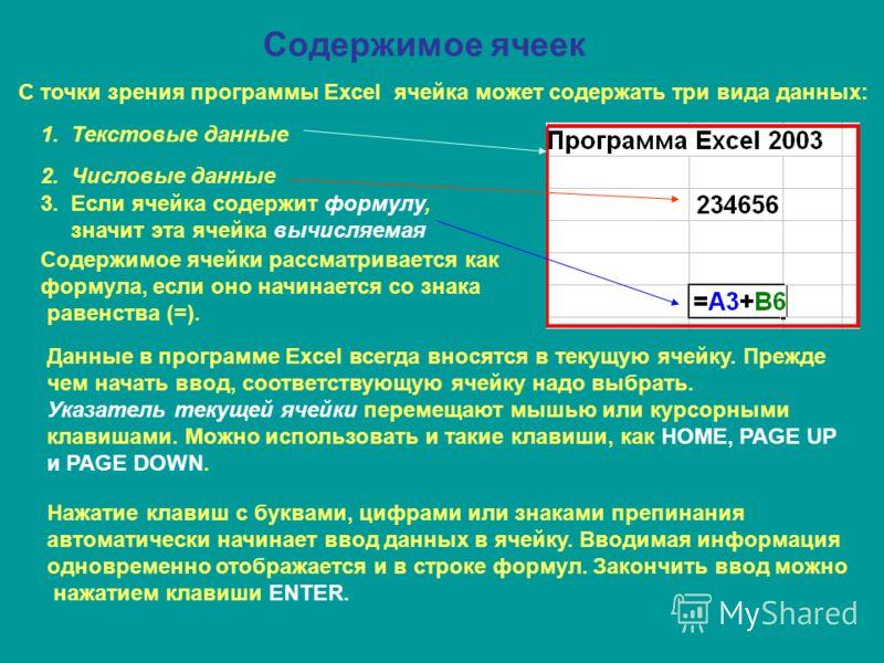 Содержимое ячеек С точки зрения программы Excel ячейка может содержать три вида данных: 1. Текстовые данные 2. Числовые данные 3. Если ячейка содержит формулу, значит эта ячейка вычисляемая Содержимое ячейки рассматривается как формула, если оно начи