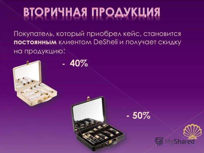 Покупатель, который приобрел кейс, становится постоянным клиентом DeSheli и получает скидку на продукцию : - 40% - 50%