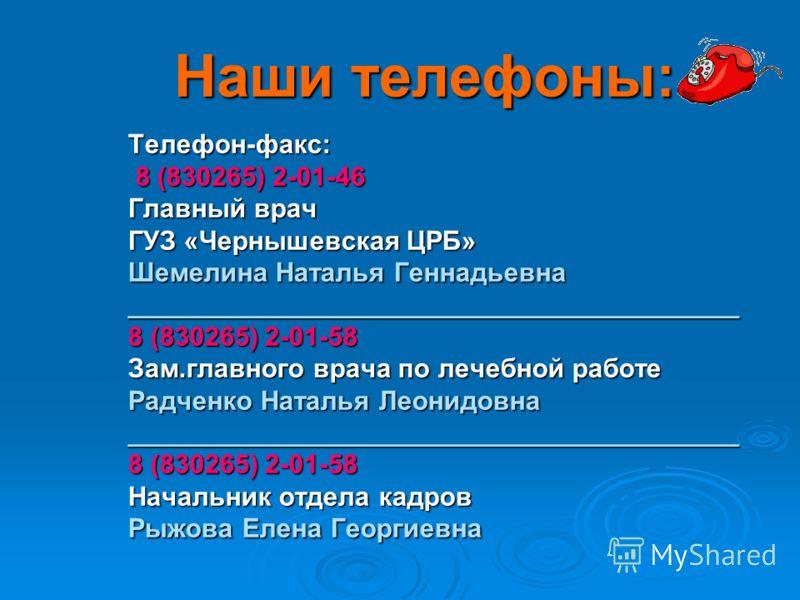 Наши телефоны: Наши телефоны: Телефон-факс: 8 (830265) 2-01-46 8 (830265) 2-01-46 Главный врач ГУЗ «Чернышевская ЦРБ» Шемелина Наталья Геннадьевна _________________________________________ 8 (830265) 2-01-58 Зам.главного врача по лечебной работе Радч