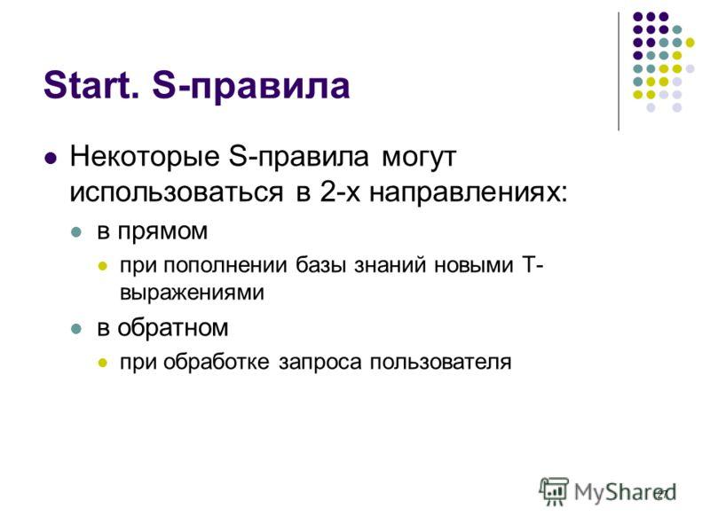 27 Start. S-правила Некоторые S-правила могут использоваться в 2-х направлениях: в прямом при пополнении базы знаний новыми T- выражениями в обратном при обработке запроса пользователя