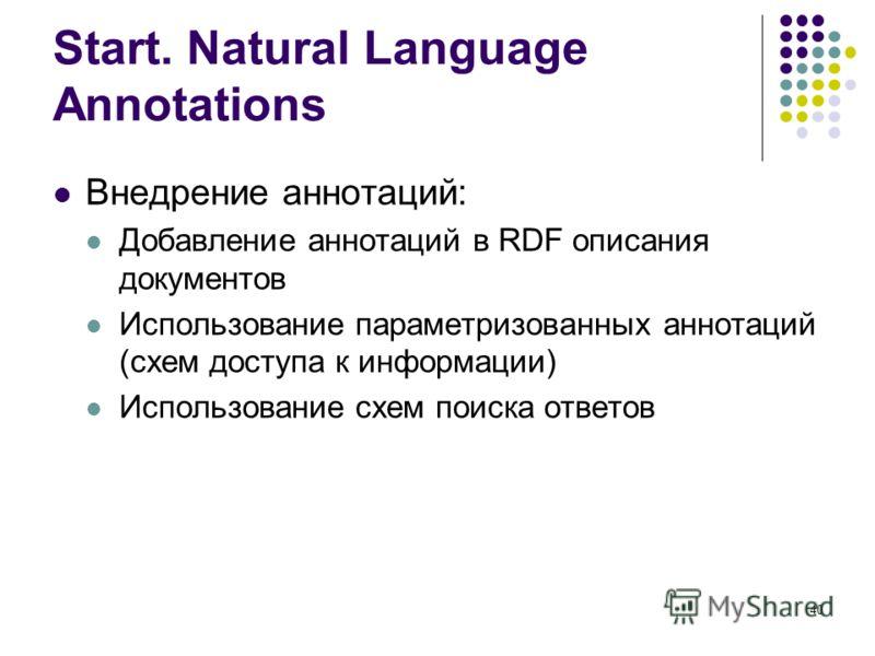 40 Start. Natural Language Annotations Внедрение аннотаций: Добавление аннотаций в RDF описания документов Использование параметризованных аннотаций (схем доступа к информации) Использование схем поиска ответов