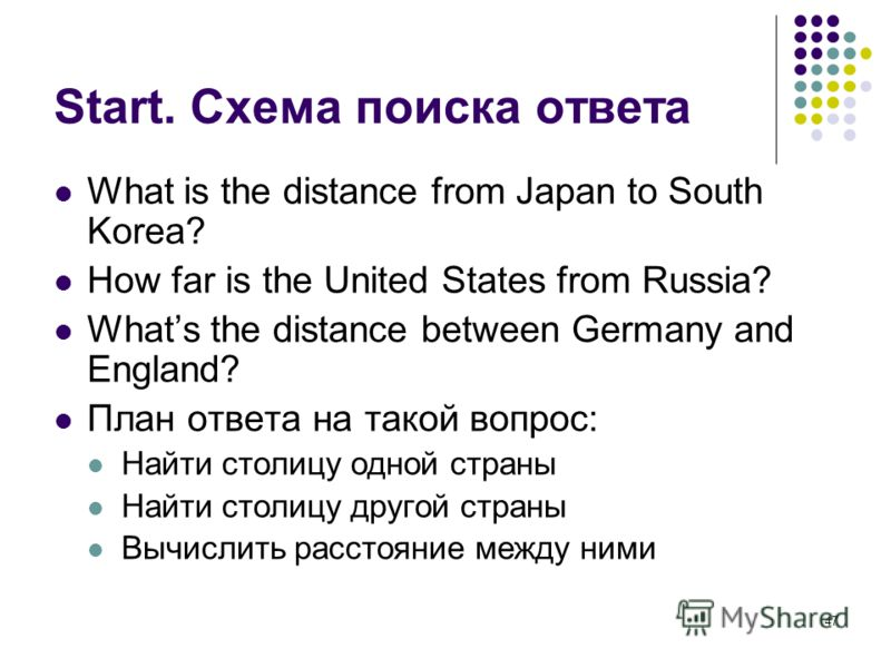 47 Start. Схема поиска ответа What is the distance from Japan to South Korea? How far is the United States from Russia? Whats the distance between Germany and England? План ответа на такой вопрос: Найти столицу одной страны Найти столицу другой стран