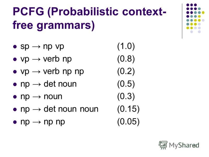 62 PCFG (Probabilistic context- free grammars) sp np vp (1.0) vp verb np (0.8) vp verb np np (0.2) np det noun (0.5) np noun(0.3) np det noun noun (0.15) np np np(0.05)