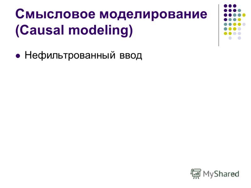 74 Смысловое моделирование (Causal modeling) Нефильтрованный ввод