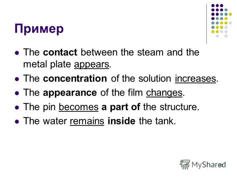 86 Пример The contact between the steam and the metal plate appears. The concentration of the solution increases. The appearance of the film changes. The pin becomes a part of the structure. The water remains inside the tank.