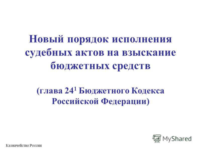 Новый порядок исполнения судебных актов на взыскание бюджетных средств (глава 24 1 Бюджетного Кодекса Российской Федерации) Казначейство России