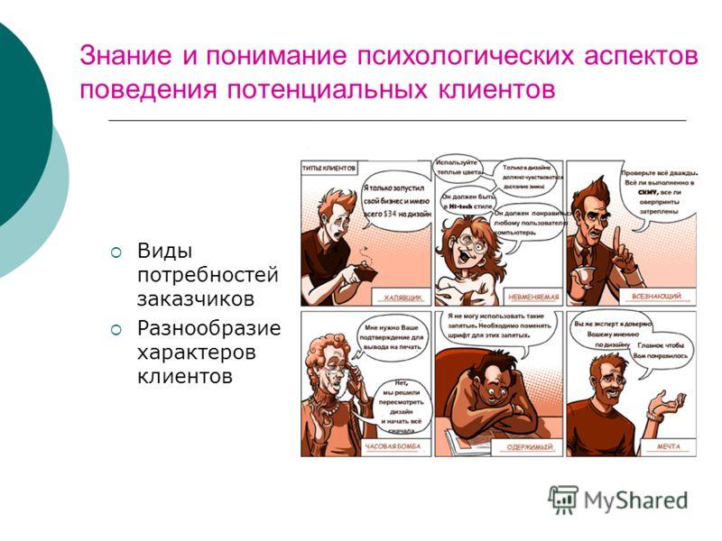 Знание и понимание психологических аспектов поведения потенциальных клиентов Виды потребностей заказчиков Разнообразие характеров клиентов
