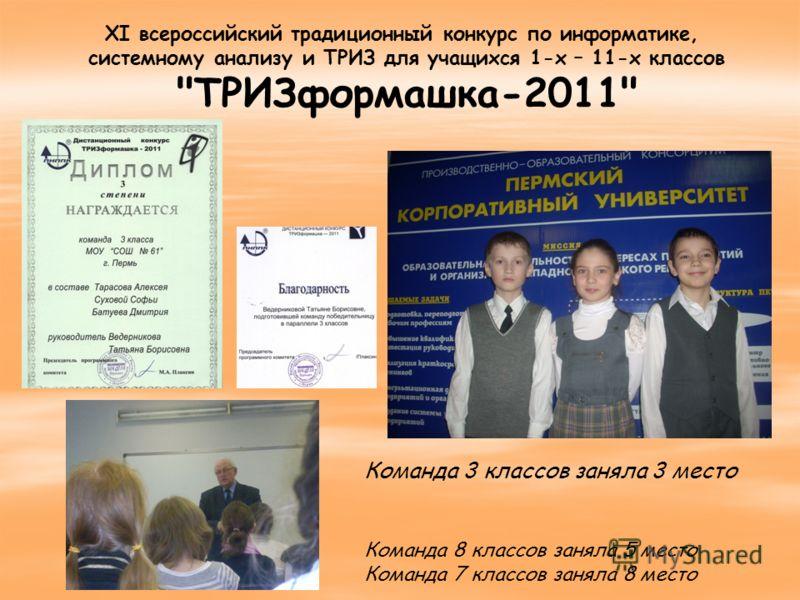 XI всероссийский традиционный конкурс по информатике, системному анализу и ТРИЗ для учащихся 1-х – 11-х классов ТРИЗформашка-2011 Команда 3 классов заняла 3 место Команда 8 классов заняла 5 место Команда 7 классов заняла 8 место