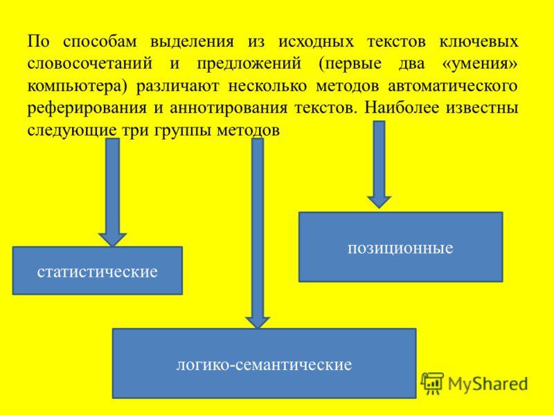По способам выделения из исходных текстов ключевых словосочетаний и предложений (первые два «умения» компьютера) различают несколько методов автоматического реферирования и аннотирования текстов. Наиболее известны следующие три группы методов статист