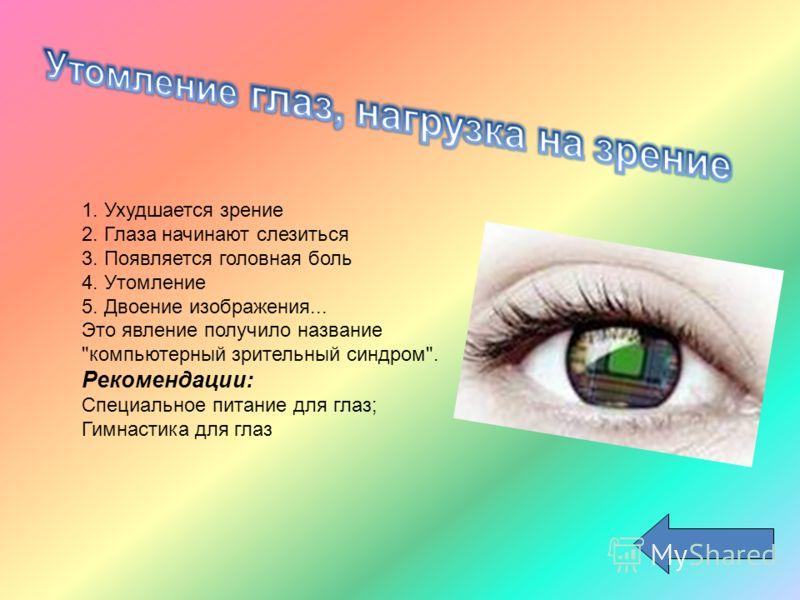 1. Ухудшается зрение 2. Глаза начинают слезиться 3. Появляется головная боль 4. Утомление 5. Двоение изображения... Это явление получило название компьютерный зрительный синдром. Рекомендации: Специальное питание для глаз; Гимнастика для глаз