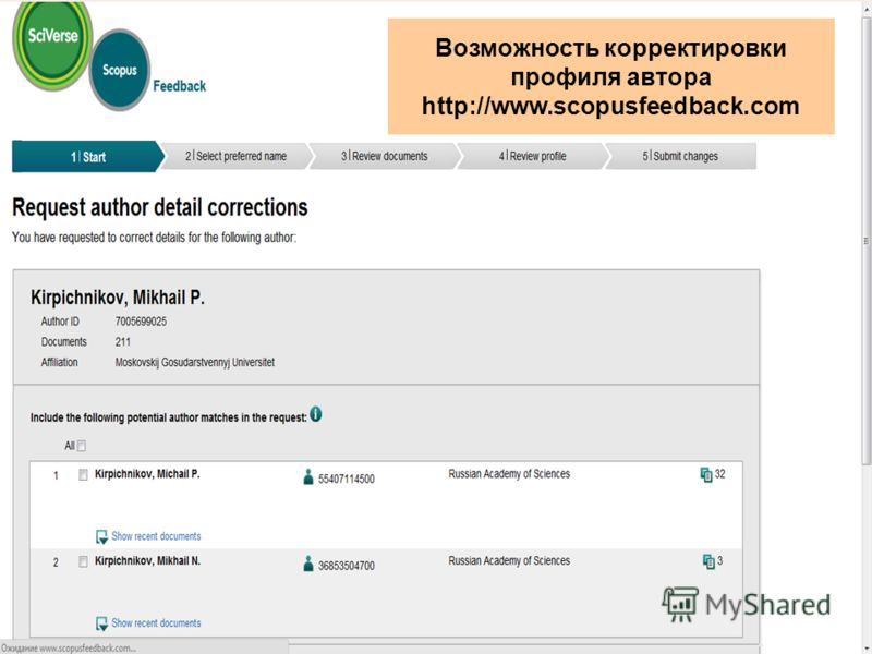 Возможность корректировки профиля автора http://www.scopusfeedback.com