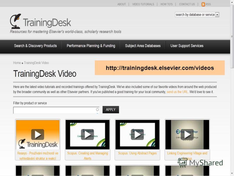 http://trainingdesk.elsevier.com/videos