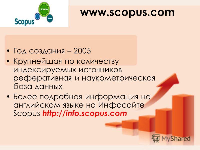 www.scopus.com Год создания – 2005 Крупнейшая по количеству индексируемых источников реферативная и наукометрическая база данных Более подробная информация на английском языке на Инфосайте Scopus http://info.scopus.com