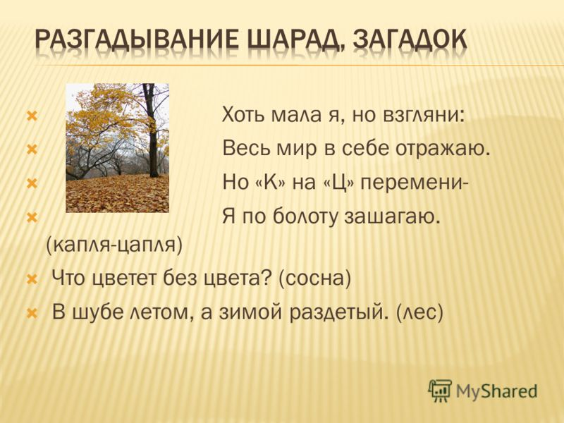 Хоть мала я, но взгляни: Весь мир в себе отражаю. Но «К» на «Ц» перемени- Я по болоту зашагаю. (капля-цапля) Что цветет без цвета? (сосна) В шубе летом, а зимой раздетый. (лес)