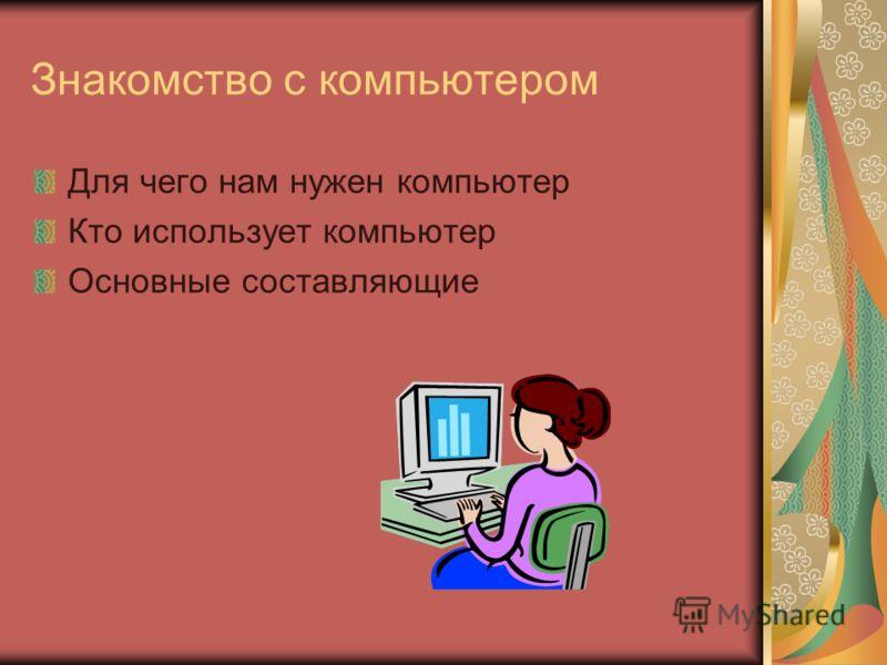 Знакомство с компьютером Для чего нам нужен компьютер Кто использует компьютер Основные составляющие