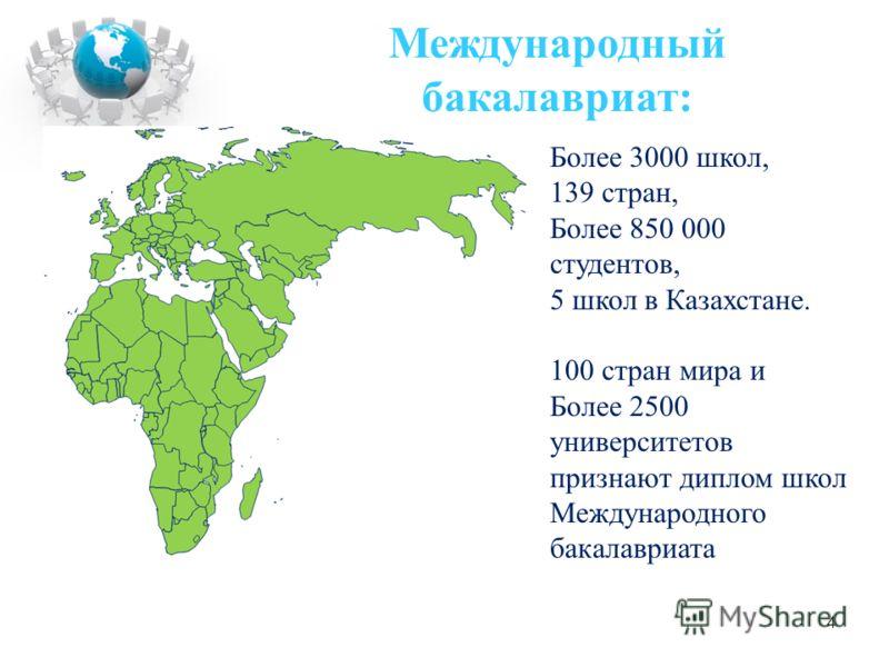 Более 3000 школ, 139 стран, Более 850 000 студентов, 5 школ в Казахстане. 100 стран мира и Более 2500 университетов признают диплом школ Международного бакалавриата Международный бакалавриат: 4