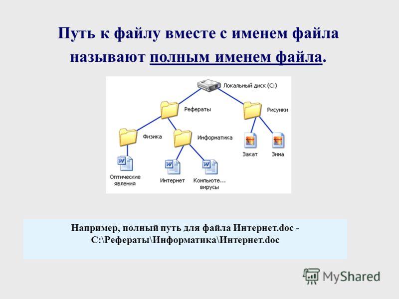 Путь к файлу вместе с именем файла называют полным именем файла. Например, полный путь для файла Интернет.doc - C:\Рефераты\Информатика\Интернет.doc